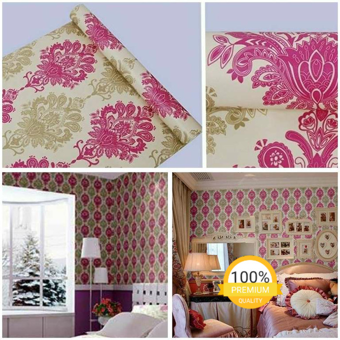 jual grosir murah wallpaper sticker dinding indah cream batik pink
