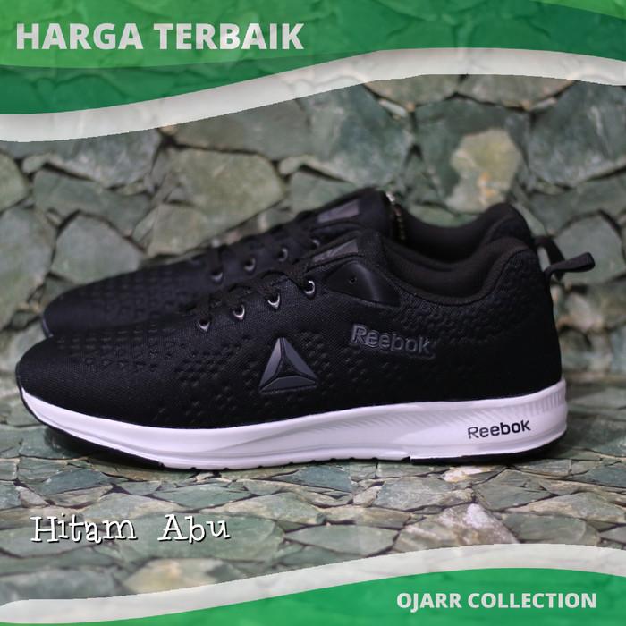 Sepatu Sneakers Sekolah Rebook Black Hitam Untuk Anak Pria Cowo Laki - Hitam  Abu 486aa406ee