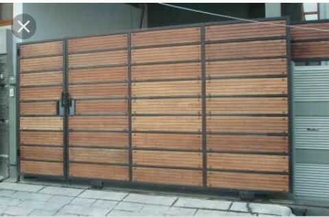 Jual Pintu Pagar Dorong Motif Woodplank Kota Bekasi Bengkel