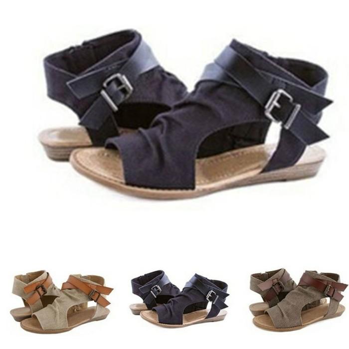 1fba2d2fa386 Jual Fashion Gladiator Casual Sandals wanita Summer Flat Rome Sepatu ...