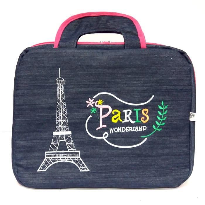 harga Pr04 tas laptop jeans note book notebook 14   in inch paris wonderland Tokopedia.com