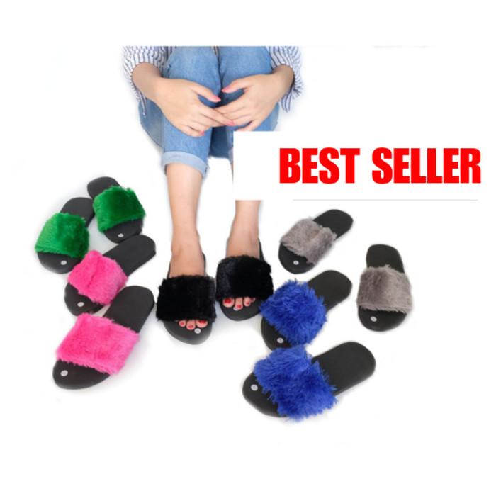 Sandal Spon Bulu Selop Kokop Kenzi Spons Shoes Sepatu Slop Fashion Ras - Fuchsia
