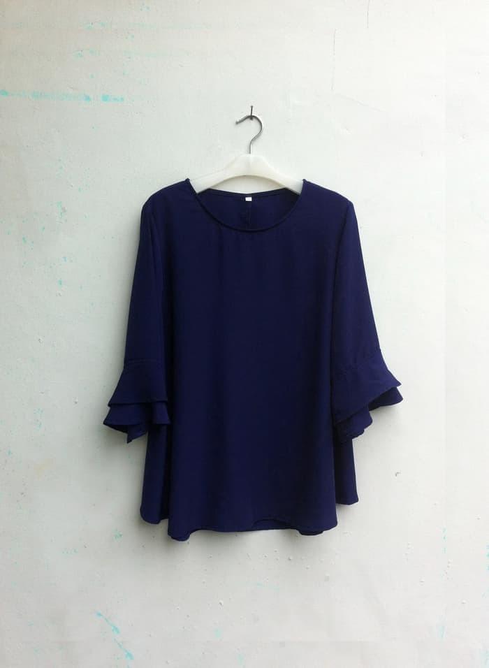 BLUS JUMBO NEW] Blouse Wanita Big Size 2L, 3L, 4L & 5L Warna Biru
