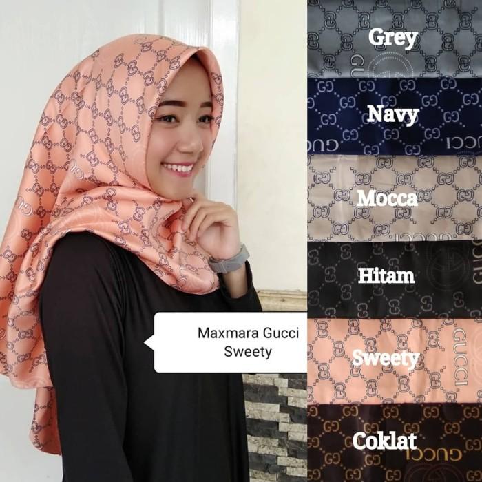 f649be80b24 Jual Kerudung Hijab Jilbab Segiempat Maxmara Square Motif Big Gucci ...
