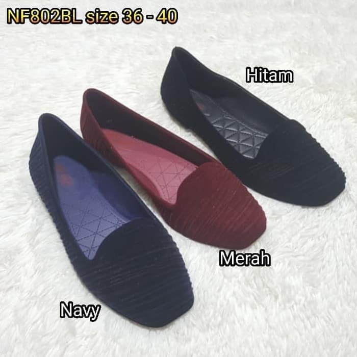 Jelly shoes bara bara bludru   sepatu wanita flat shoes import 802bl