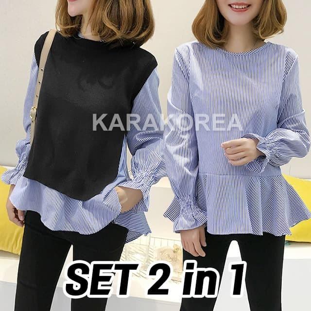 Foto Produk (#9630) Rachel knit + Blouse Set/Blouse Lengan Panjang/Baju kerja - Navy dari KaraKorea Shop