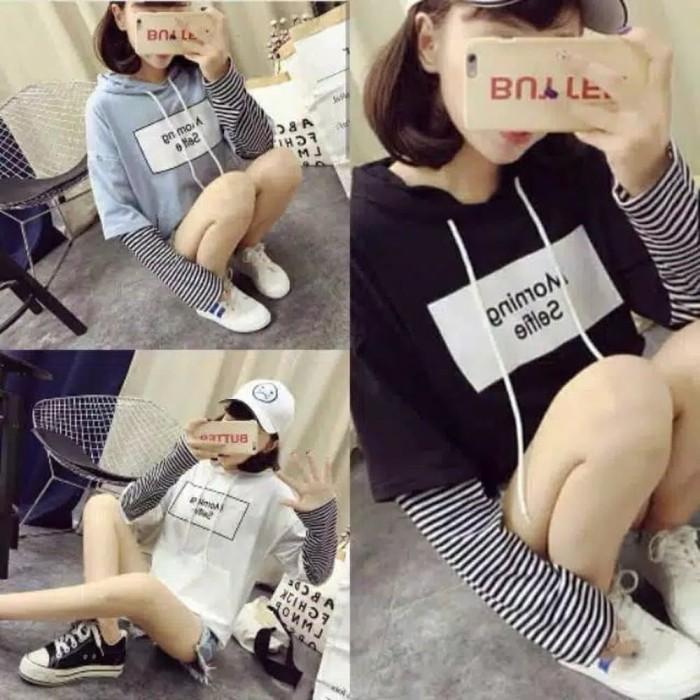 FIT to XL Sweater Wanita Morning Selfie Baby terry Mix Murah
