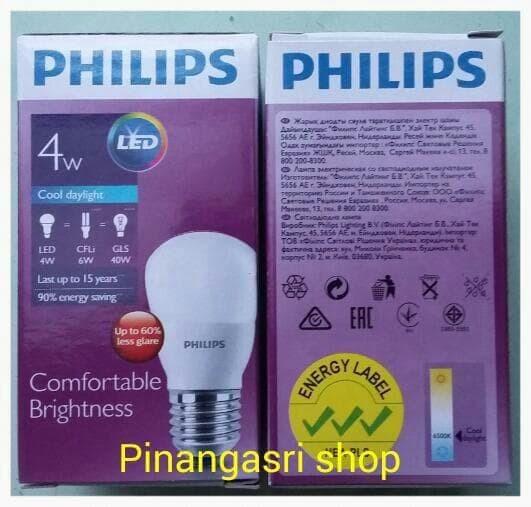 Terbagus Lampu Led Philips 4 Watt Bohlam 4W / Philip Putih 4 W Bulb