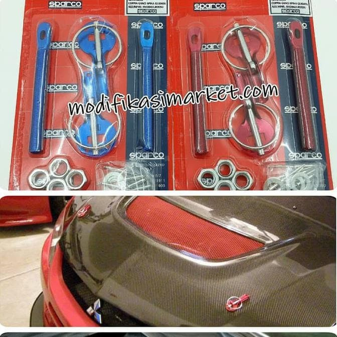 Blue Sparco Universal Pro Series Functional Steel Hood Pins Color