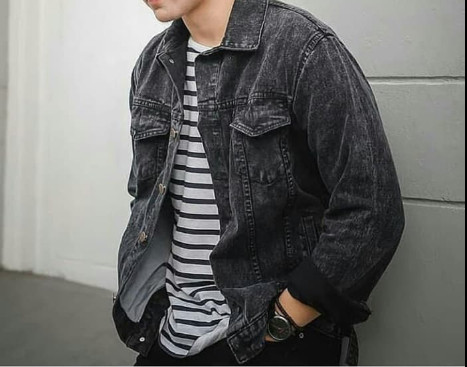 harga Emoline - jaket jeans pria sandwash / jaket stone washing - sandwash hitam l Tokopedia.com