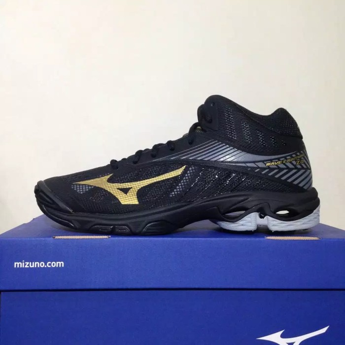 Sepatu Volley Mizuno Wave Lightning Z4 Mid Black Gold V1 GA180550 Ori 6f87436b21