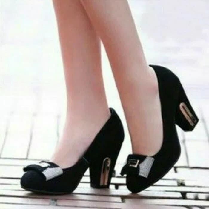 high heels permata hitam hak tinggi sepatu selop sendal sandal wanita -  Hitam 65ede7bac4