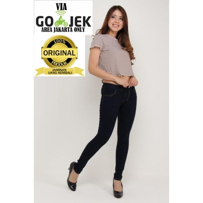 Jual Celana Jeans wanita Slimfit pinggang karet - Navy, 31 - JSK FASHION STORE   Tokopedia
