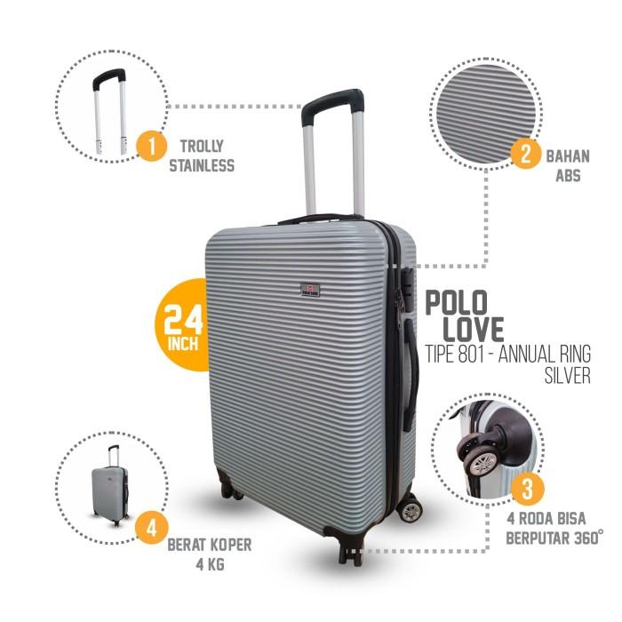 Koper Travel 24 inch Grandy's ABS Hardcase Roda 4 murah - Silver - Biru Muda