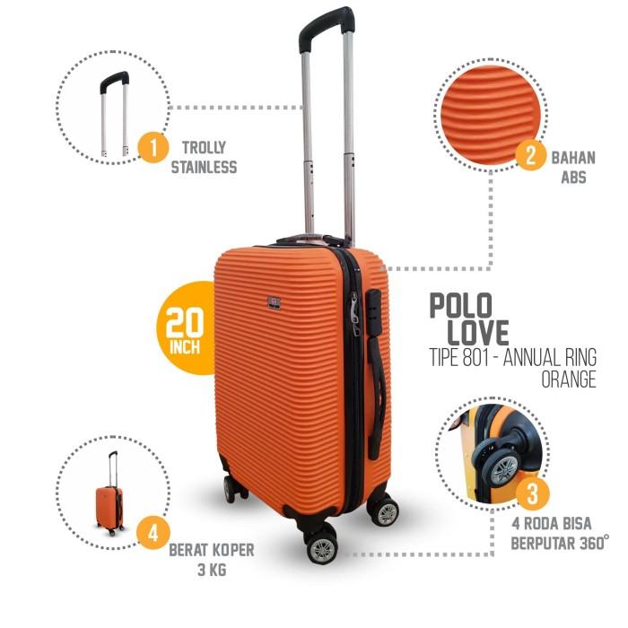 Koper Kabin 20 inch Grandy's ABS Hardcase 4 Roda murah - Orange - Maroon