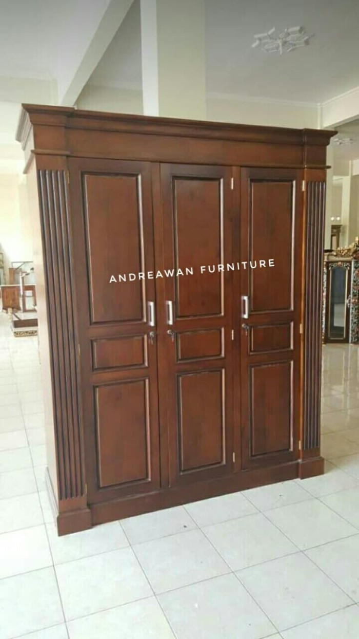 Jual Lemari Pakaian Minimalis Custom Kayu Jati Asli Kab Jepara ANDREAWAN FURNITURE