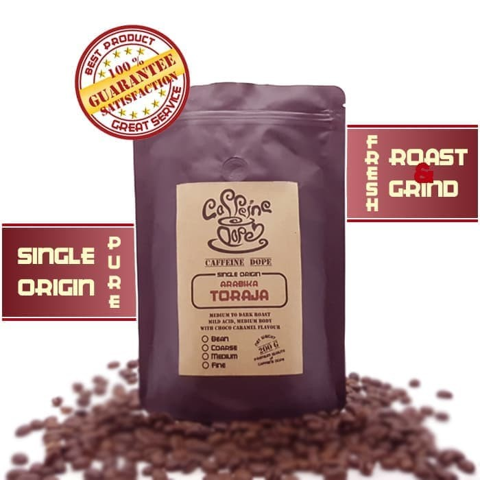 Kopi Arabika Toraja 200 Gr Single Origin Bean/Biji & Ground/Bubuk