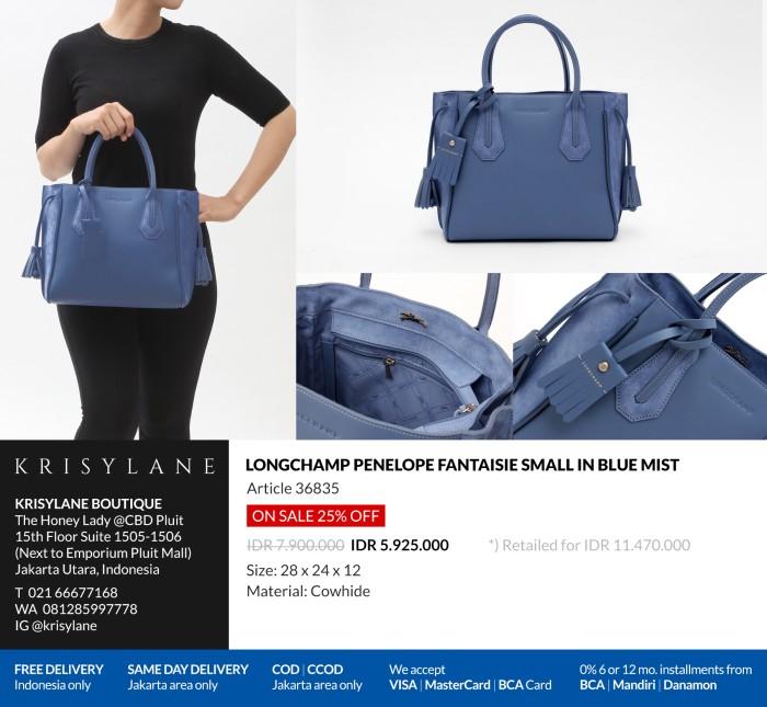 d85c57a38 Jual Longchamp Penelope Tote Bag S Blue Mist 100% Authentic from ...