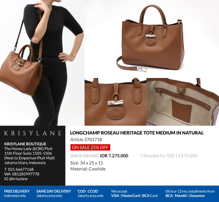 7a748ea167a1 Jual Longchamp 3D Tote Bag M Natural 100% Authentic from europe ...