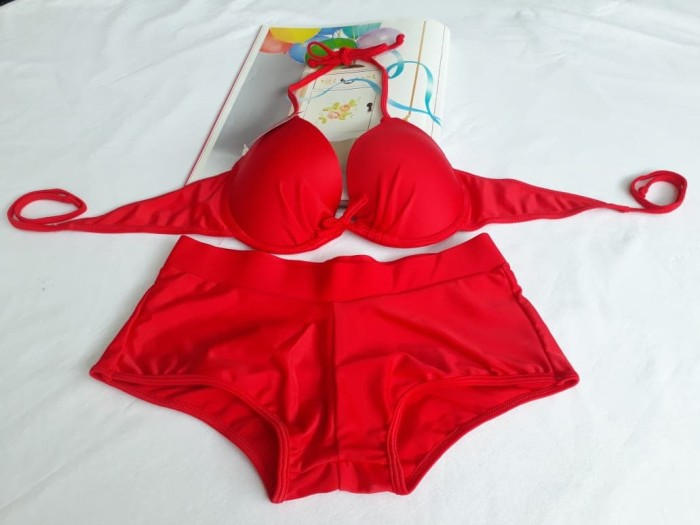 Bikini Pantai Baju Renang Wanita Bra Kawat 3323 Merah - Blanja.com