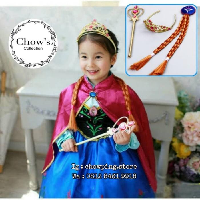 Foto Produk Set Mahkota Anak Cewe Frozen 3in1 / Princess Anna Crown Set COKLAT dari Chowping Store