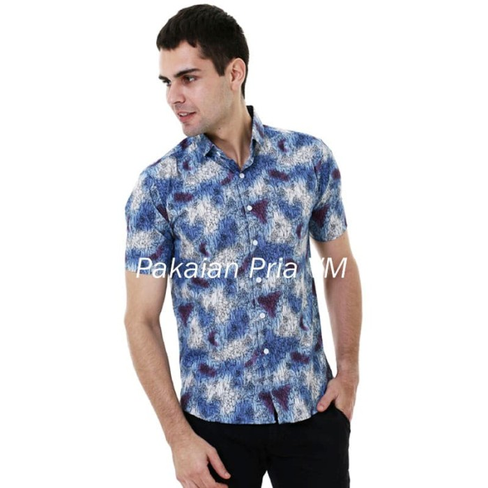 harga Vm kemeja batik pendek biru slimfit batik modern pria Tokopedia.com