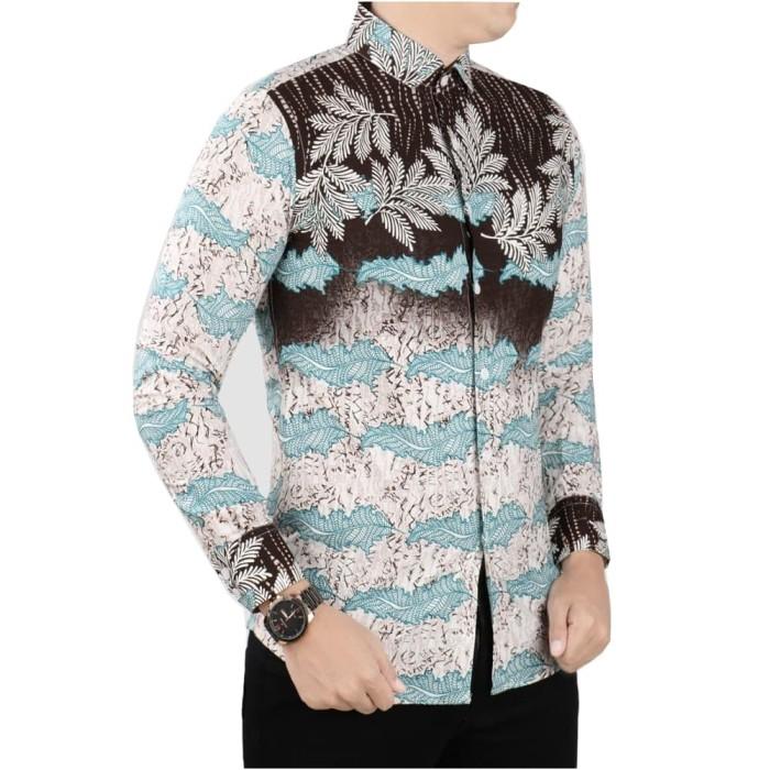 harga Vm kemeja batik slimfit tangan panjang hijau kombinasi kemeja casual - hijau muda m Tokopedia.com
