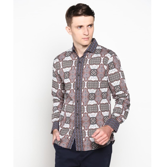harga Vm kemeja batik panjang slimfit batik pria modern kombinasi b-184 Tokopedia.com