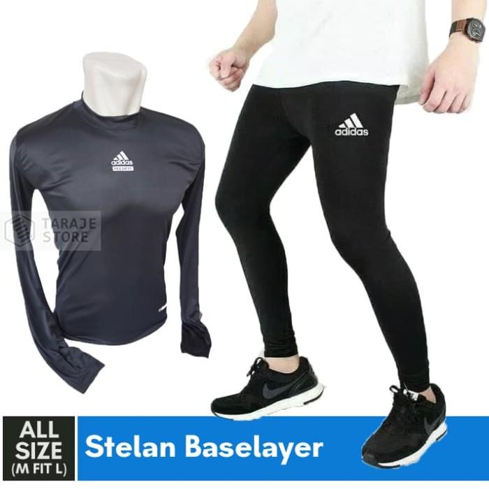 Jual Promo Paket Stelan Baselayer Manset Celana Legging Stretch Running Gym Kota Bandung Taraje Tokopedia
