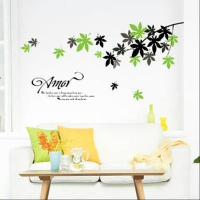 jual wall sticker 50x70/wall stiker transparan-ay718-amor leaves
