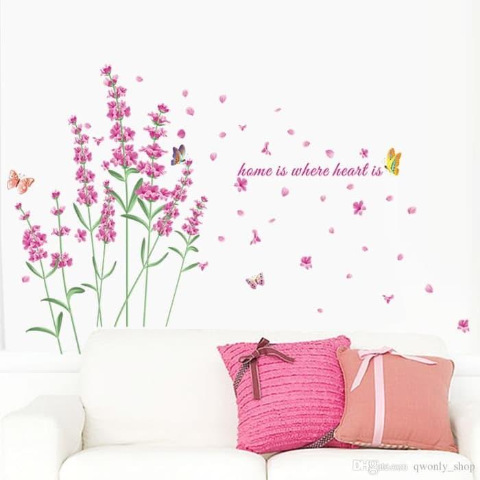 jual wall sticker 50x70 zy052 pink lavender wallsticker dinding