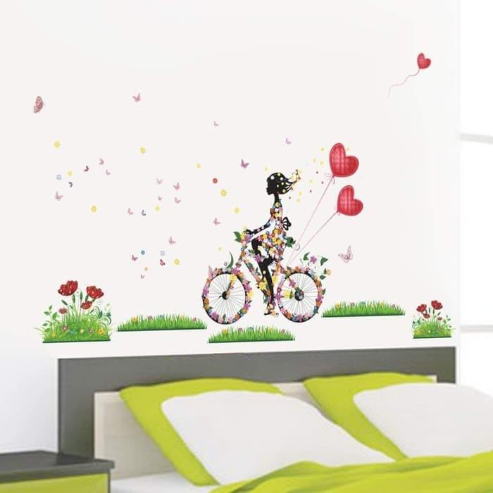 jual wall sticker 50x70 zy057 mini bike love wallsticker dinding