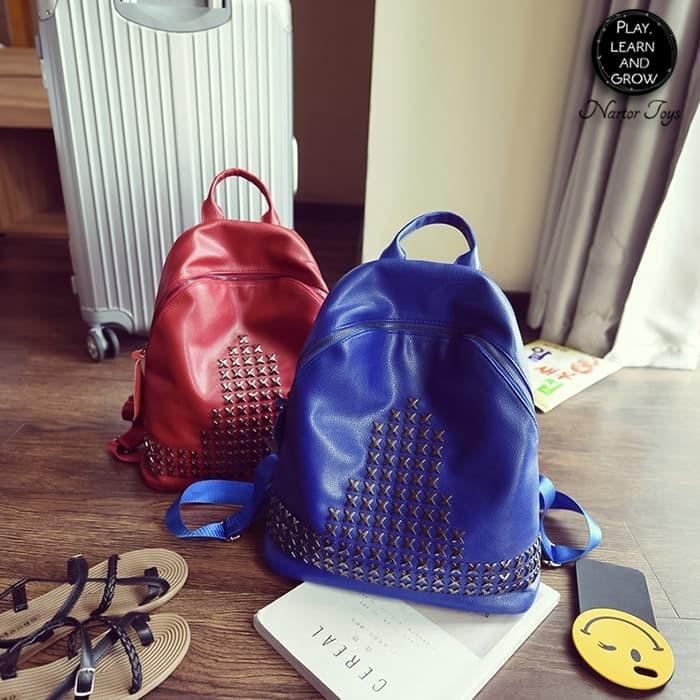 New TAS RANSEL PU WANITA RIVET STARS BACKPACK Korea Fashion