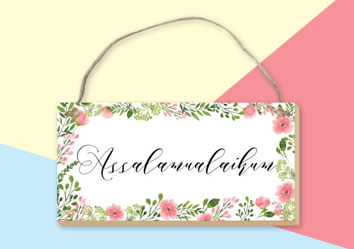 VHD Watercolor Floral Home Wall Decor Gantungan Hiasan Dinding - Assalamualaikum