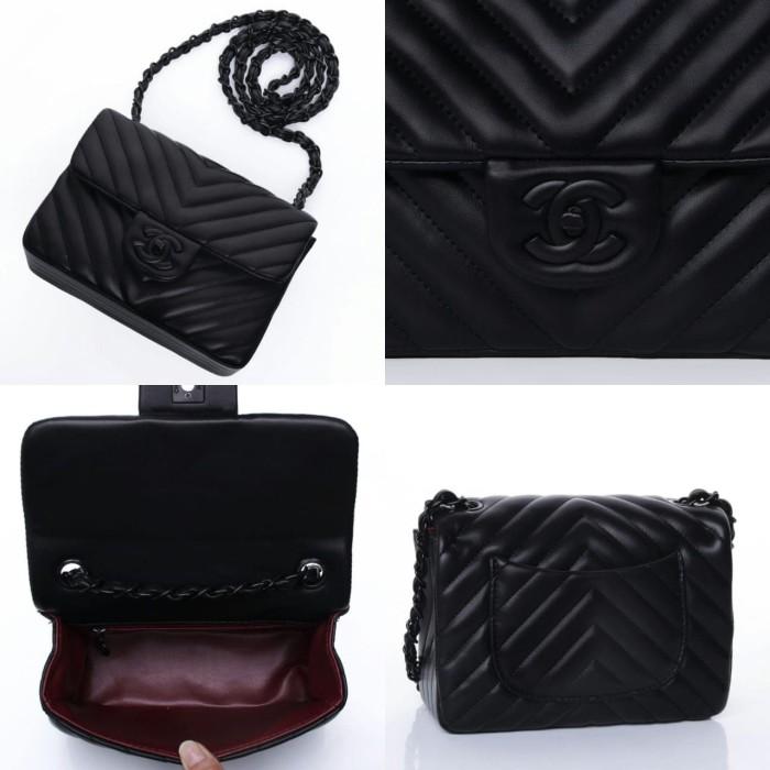 1d2ccc4cbf88 Jual Chanel Chevron Mini Flap Square + Box / tas selempang wanita ...