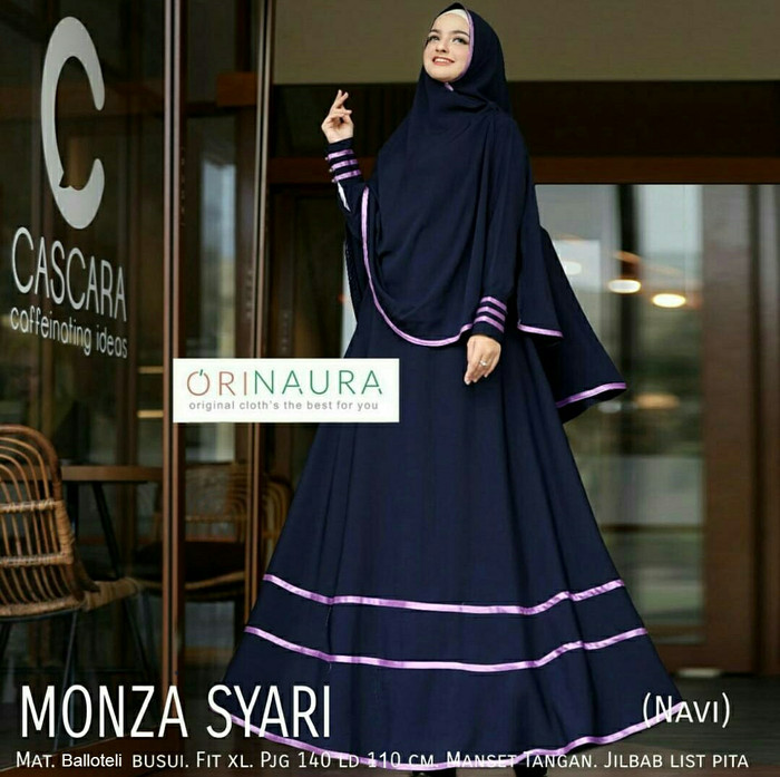 Jual Baju Gamis Syar i Muslim Wanita Pakaian Hijab Syar i Monza Navy ... 623e466d22