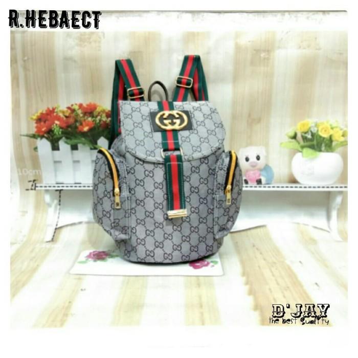Tas Ransel HEBAECT fashion wanita ala korea backpack style abu abu