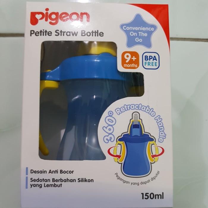 pigeon petite straw bottle biru