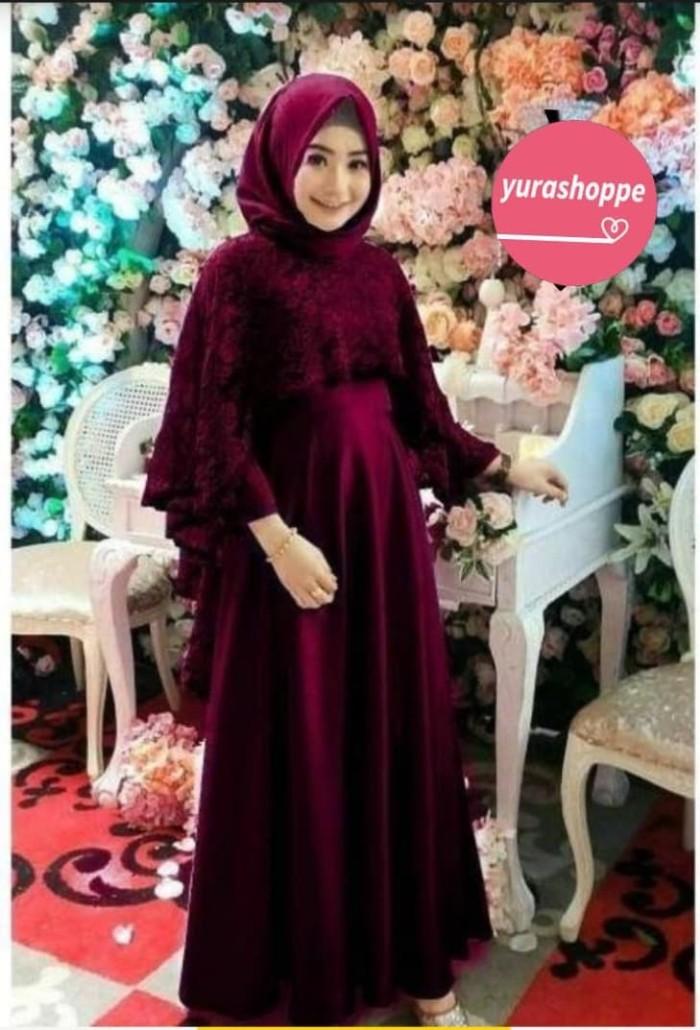 Jual Long Dress Elegan Gaun Pesta Kebaya Muslimah Abaya Kaftan