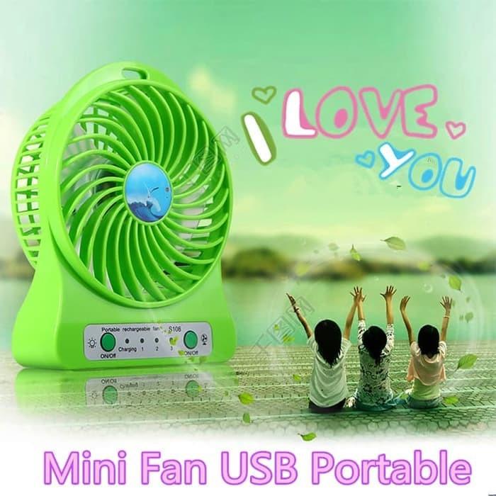Foto Produk Ruibao Mini Fan USB Portable / Power Bank Kipas Angin Mini Portable dari Nagada shop