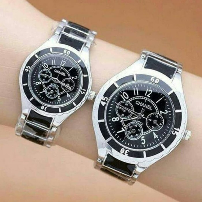 harga Jam tangan couple pasangan chanel mika rantai black Tokopedia.com