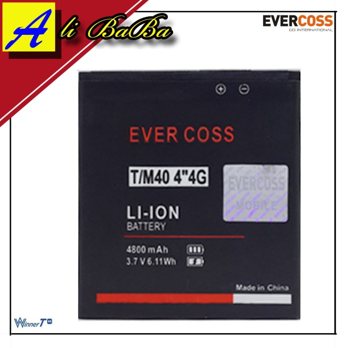harga Baterai handphone evercoss m40 winner t 4g double power evercoss m40