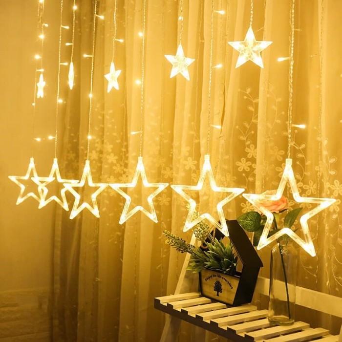 Jual Lampu Dekorasi Hias Juntai Led Tirai Bintang 3m Warmwhite