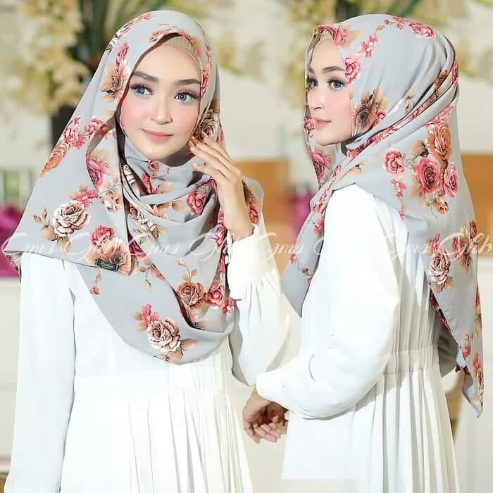 Jilbab pashmina davina instant motif bunga