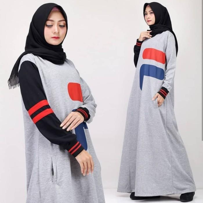Jual Baju Gamis Wanita Terbaru Logo Fila Dress Gamis Pesta Maxi