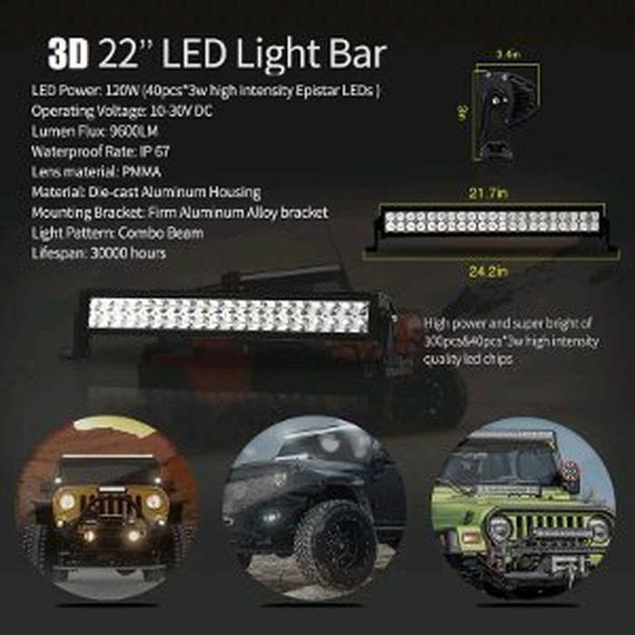 LED CREE 120W LIGHT BAR - LAMPU SOROT LED LIGHT BAR 120 W 20 INCH -