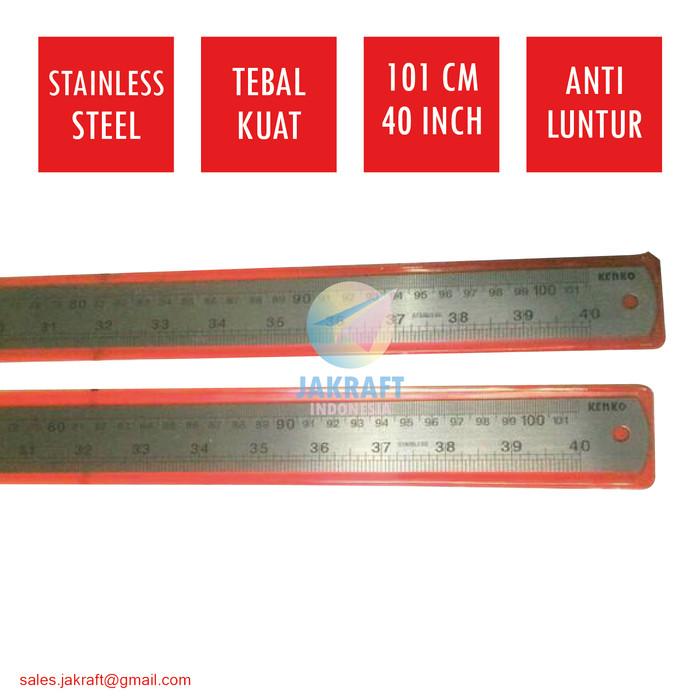 "Penggaris Panjang Besi 100 Cm 40"" Inch KENKO Stainless Steel Ruler"