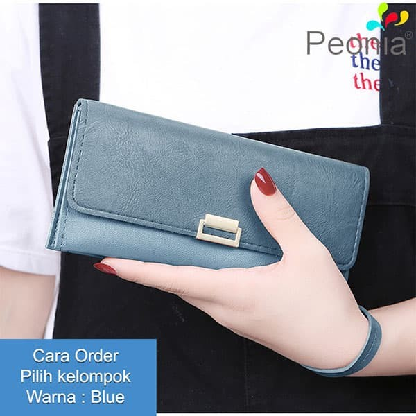 Peonia - dompet wanita panjang hp import - korea style - daisy lg - blue