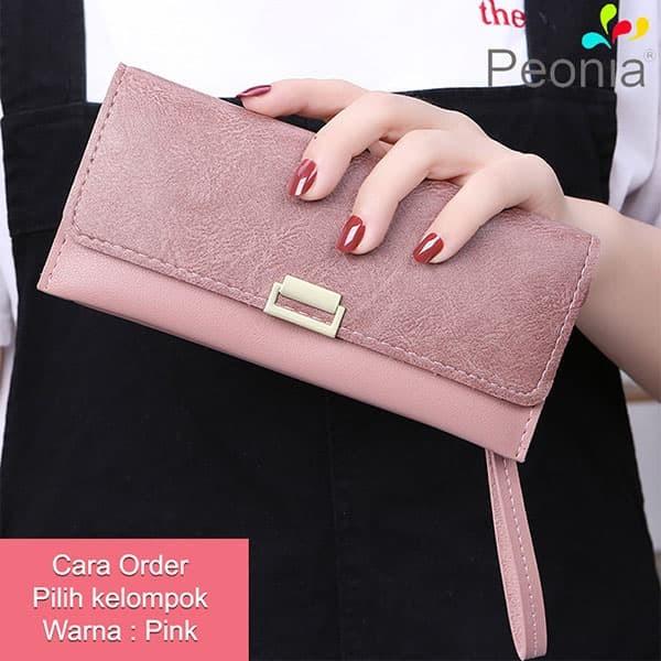 Peonia - dompet wanita panjang hp import - korea style - daisy lg - pink