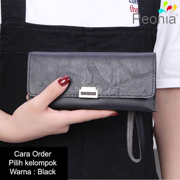 Peonia - dompet wanita panjang hp import - korea style - daisy lg - black